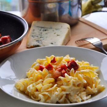 Těstoviny, večeře, Niva, slanina, recept,