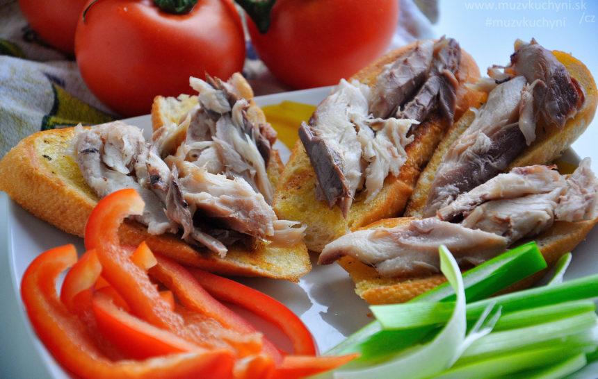 bageta, bagetka, uzená makrela, recept, firecept, večeře, co k večeři