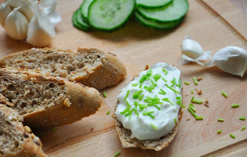 pomazánka, česnek, sýr, zelenina, snídaně, fitness recept, fitrecept