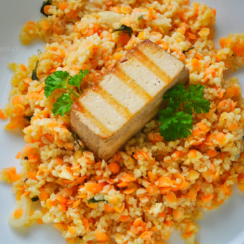 bulgur, tofu, čočka, recept, oběd, fitness recept, fitrecept, jednoduchý, rychlý