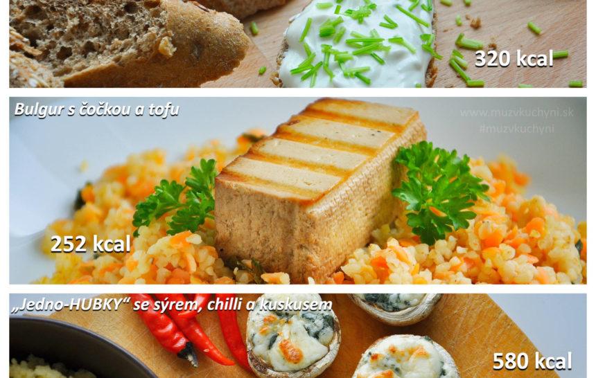 fitrecetpy, fitness jídelníček, snídaně, oběd, večeře, pomazánka, bulgur, tofu, houby, chilli, česnek