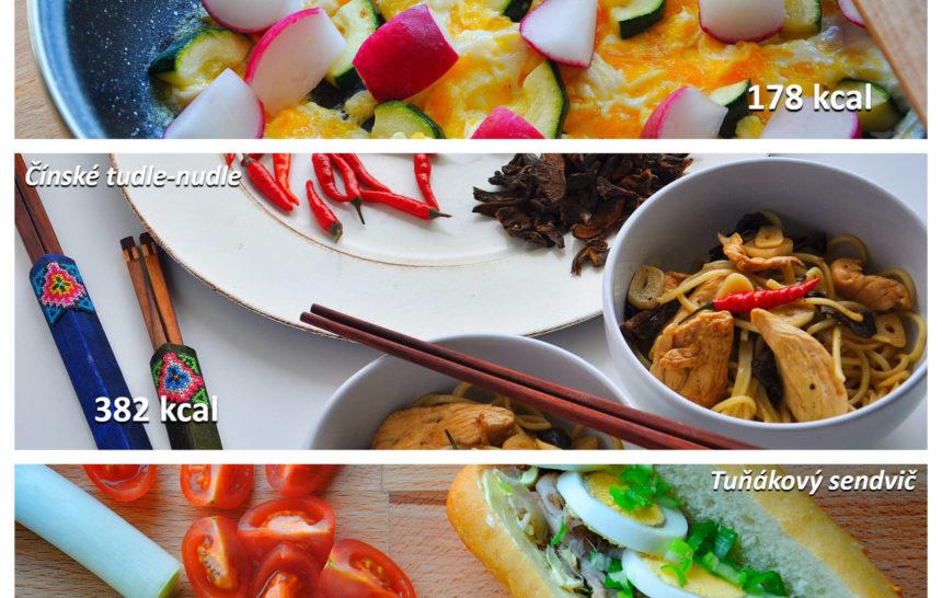 fitness jídelníček, snídaně, oběd, večeře, jednoduché recepty, vajíčka, cuketa, asijská kuchyň, nudle, tuňák, sendvič