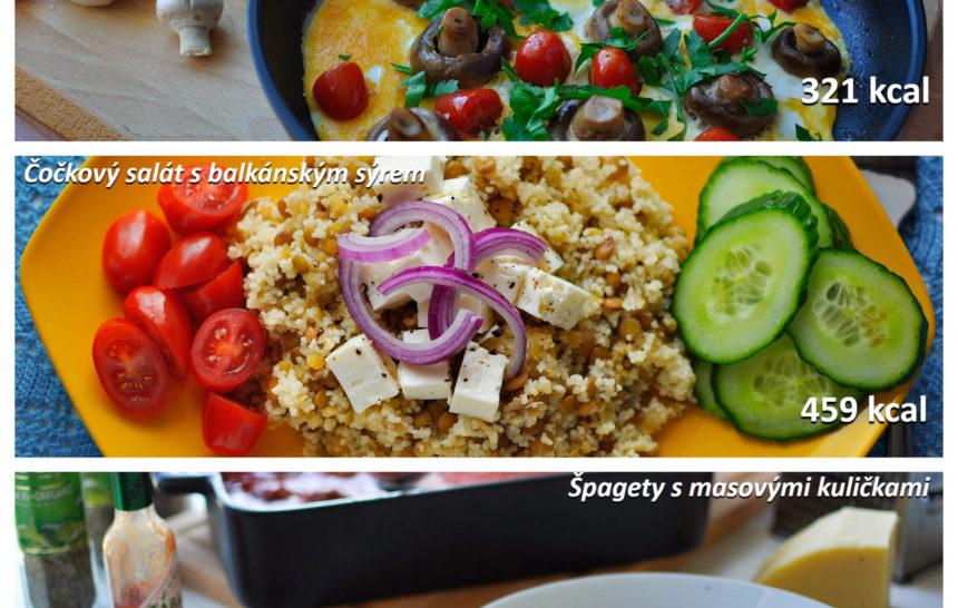 fitness jídelníček, fitrecepty, fitrecept, snídaně, oběd, večeře, recept, jednoduchý, rychlý, zdravý, vajíčka, houby, cherry rajčata, čočka, salát, špagety, masové kuličky