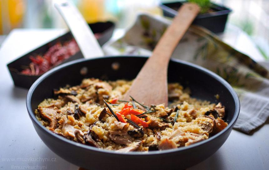 recept, oběd, večeře, kuřecí maso, stehno, prsa, houby, chilli, česnek, maso z oběda, fitrecept, fitness recept