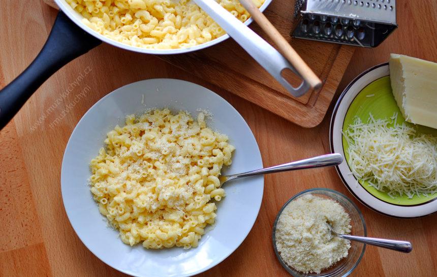 těstoviny, recept, sýr, dvojitý sýr, parmezán, oběd, jednoduchý, rychlý, zdravý, chutný