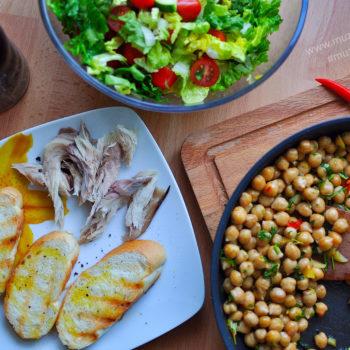 recept, cizrna, salát, makrela, jednoduchý, rychlý zdravý, chutný, večeře