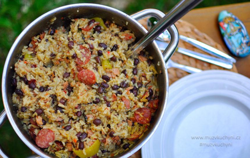 Congri, recept, kubánsky, černé fazole, rizoto, netradiční, slanina, klobása