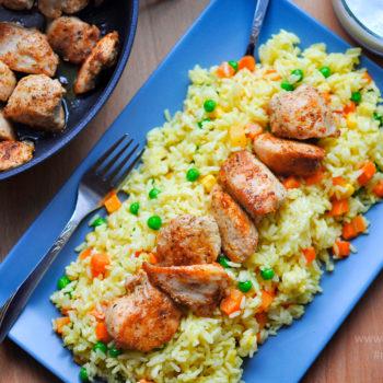 šitauk, šašlik, recept, oběd, maso s rýží, jogurtový dresing, orientální kuchyň