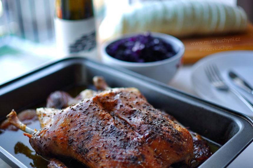 pečená, kachna, recept, večeře, sváteční, jak upéct kachnu