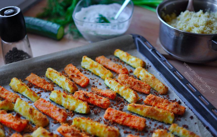 vegan, vegetarian, recept, zeleninové hranolky, tzatziky, bulgur, oběd, večeře