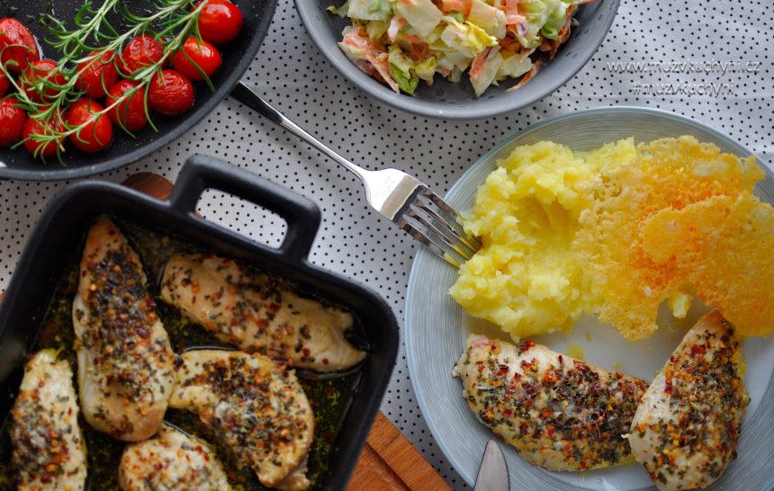 kuřecí steak, parmezán, oběd, recept, bramborová kaše,