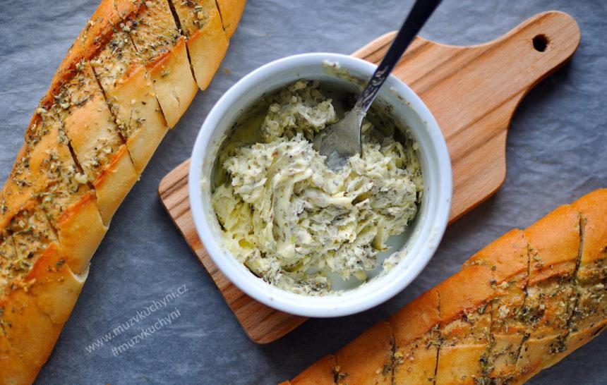 bylinkové máslo, česnekové, recept, k masu