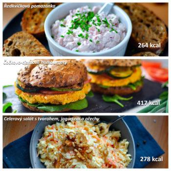 snídaně, oběd, večeře, fitness, jídelníček, ředkvičková pomazánka, čočkové burgery, celerový salát